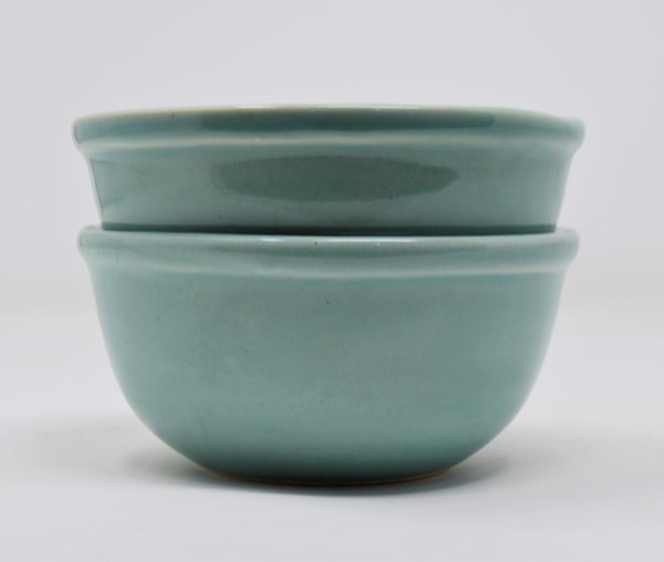 sea green olive green cereal bowls