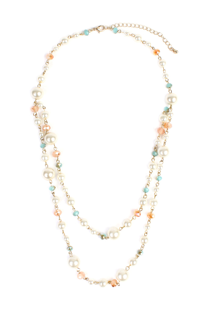 Pastel Bead Pearl Necklace