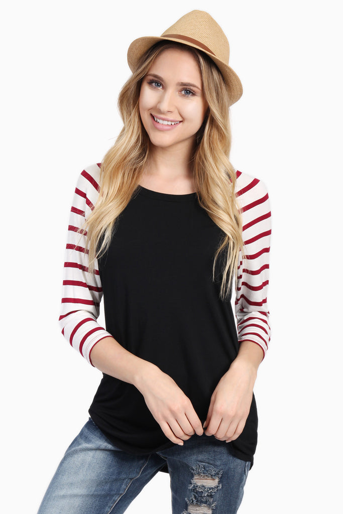 Striped Sleeve Raglan Tee