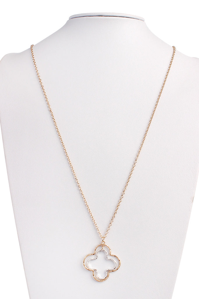 Clover Outline Delicate Chain Necklace