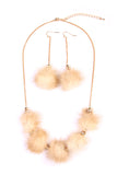 Faux Fur Pom Pom Necklace Set