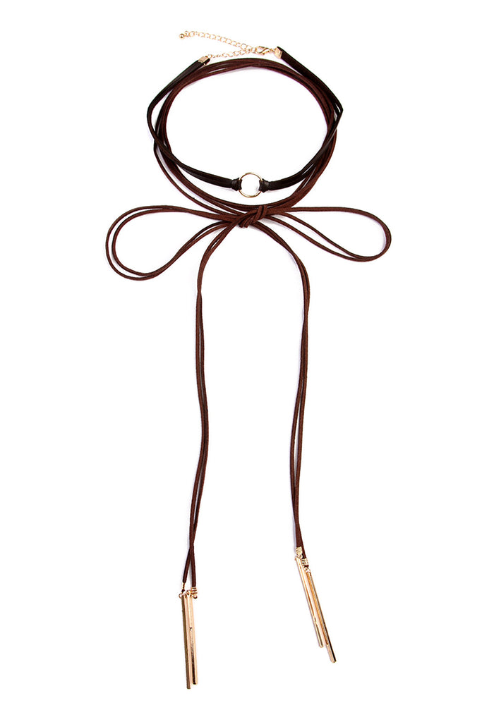Open Circle Suede Leather Choker