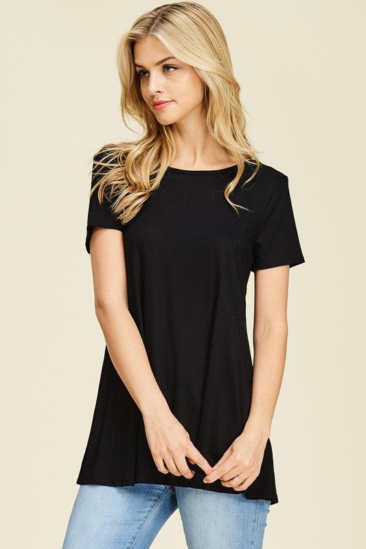 Short Sleeve Back Cut-Out Top