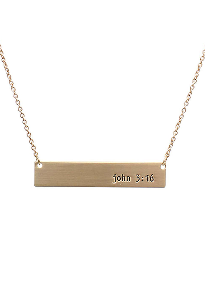 """John 3:16"" Message Bar Necklace"