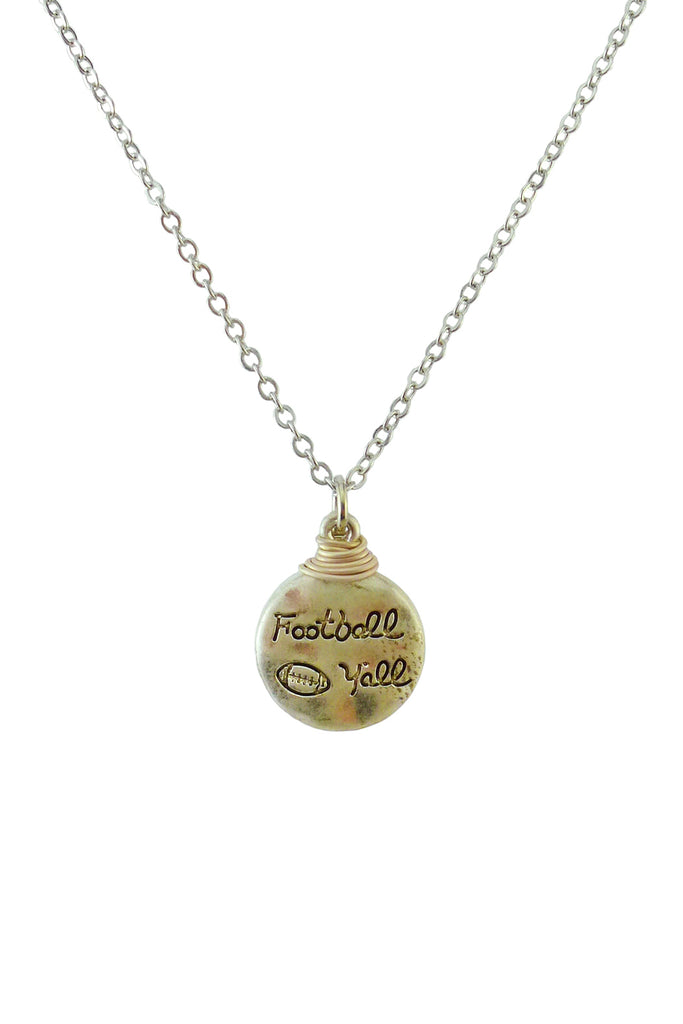 """Football Y'all"" Cute Pendant Necklace - Riah Fashion"