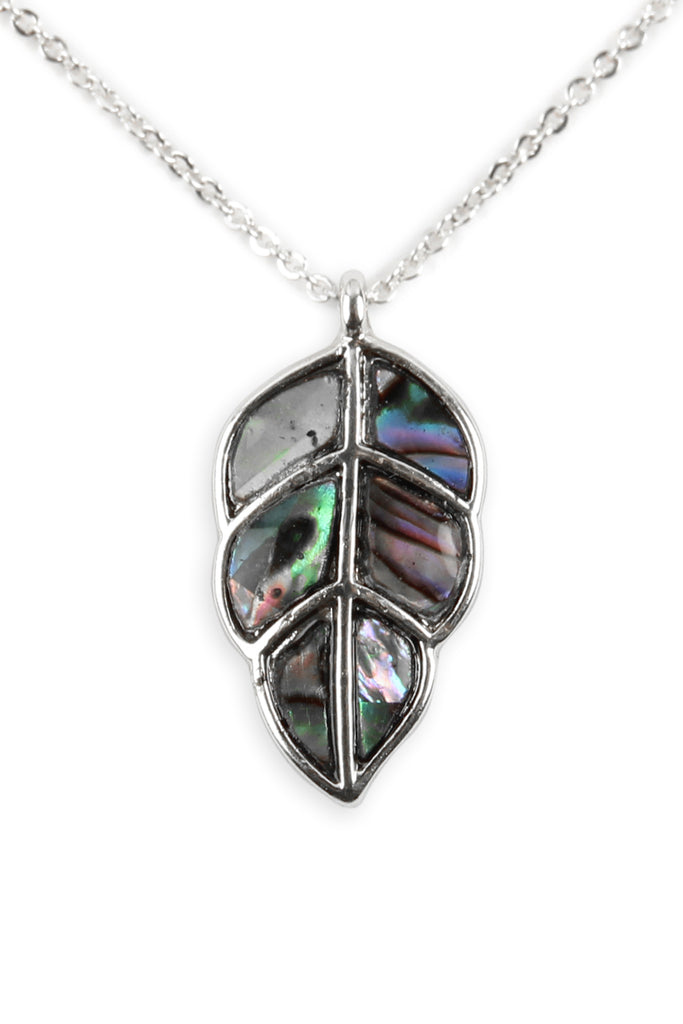 17139 - ABALONE LEAF PENDANT NECKLACE
