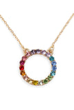 RAINBOW ROUND CUTOUT CHAIN NECKLACE