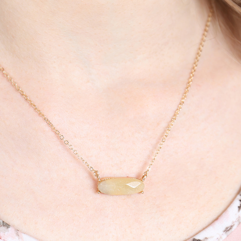 Natural Stone Oval Necklace