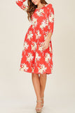3/4 Sleeve Floral Flare Midi Dress
