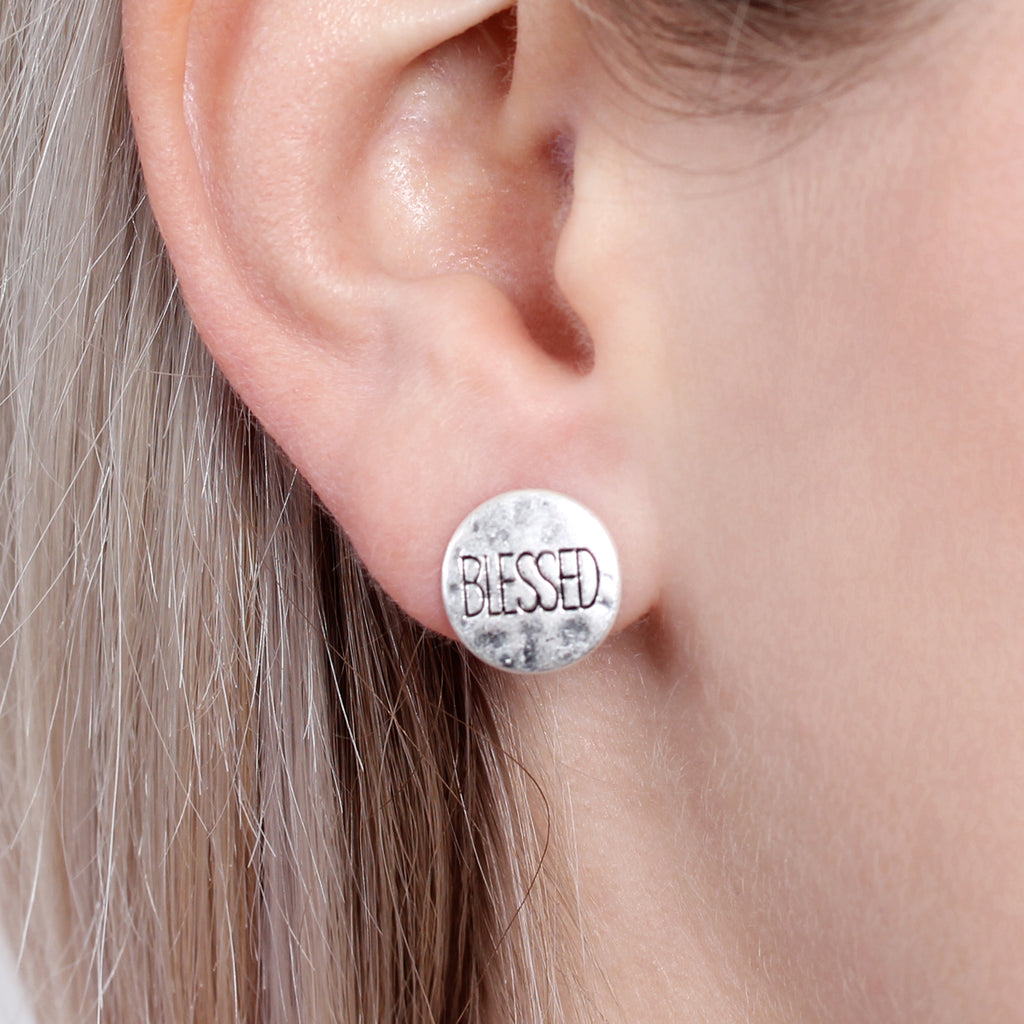 Blessed Engraved  Message Earring