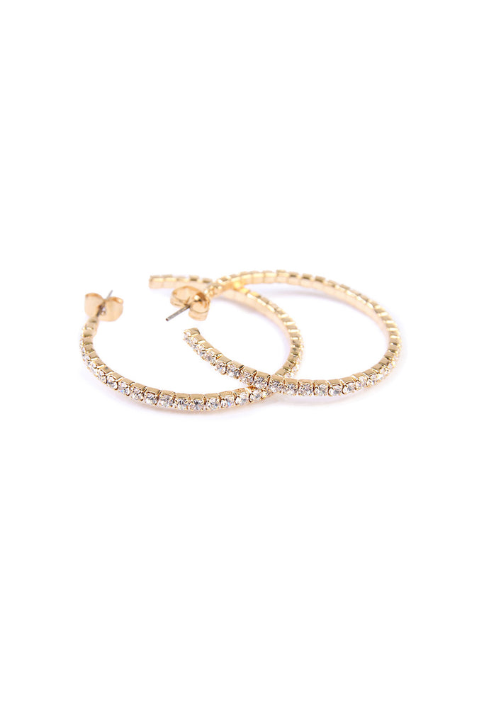 Petite Rhinestone Hoop Earrings
