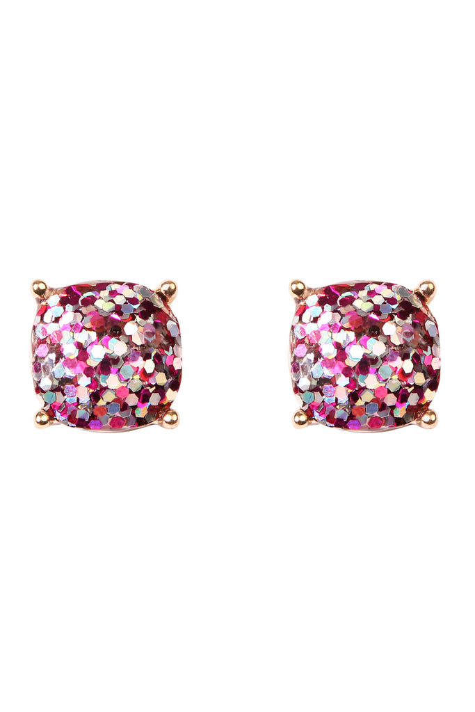 Cushion Glitter Earrings