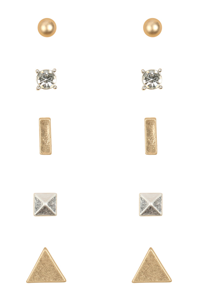 Geometric Multi Stud Earring Set