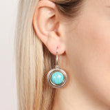 Turquoise Round Hook Earrings