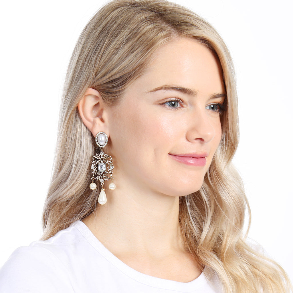 Oval Pearl Leaf Dangle Drop Earring