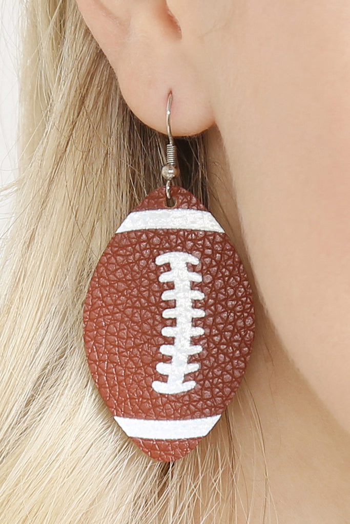 Football Leather Fish Hook Earrings