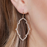 Rhinestone Quatrefoil Pattern Drop Earrings