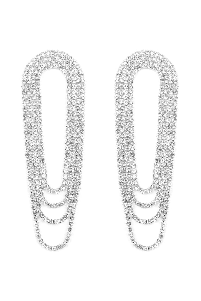 CUBIC LAYERED FRINGE DROP EARRINGS