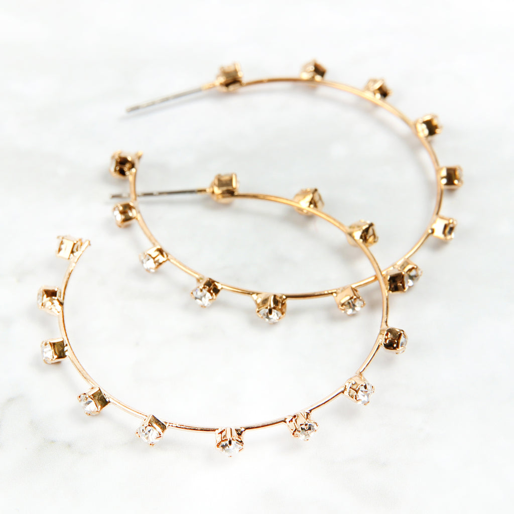 Rhinestone Station Hoop Earrings