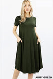 Short Sleeve Viscose Round Neck Pocket Dress