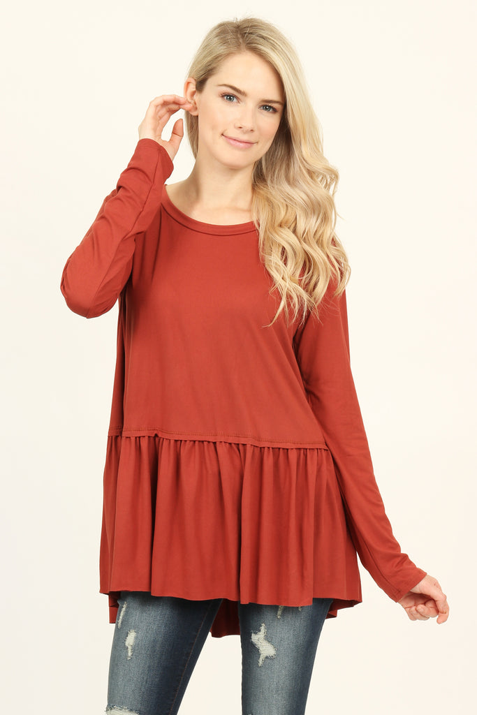 Long Sleeve Scoop Neck Peplum Top
