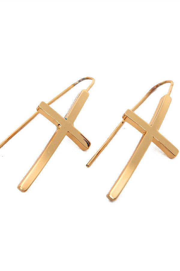 Cross Fish Hook Earrings