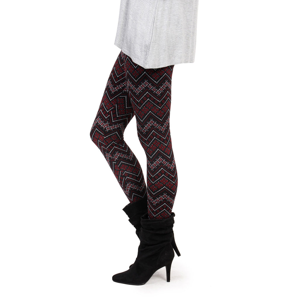 Chevron Print Fleece Leggings