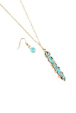 Turquoise Stone Twist Necklace Set