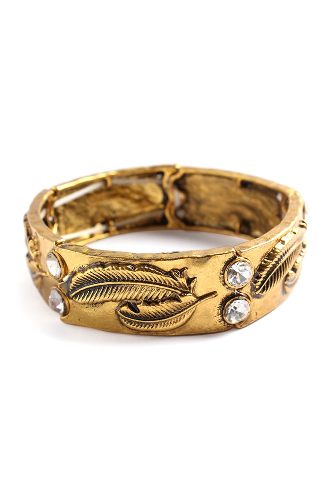 Burnish Feather Carved Bracelet