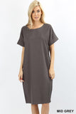 Boxy Linen Short Sleeve Cuff Pocket Dress