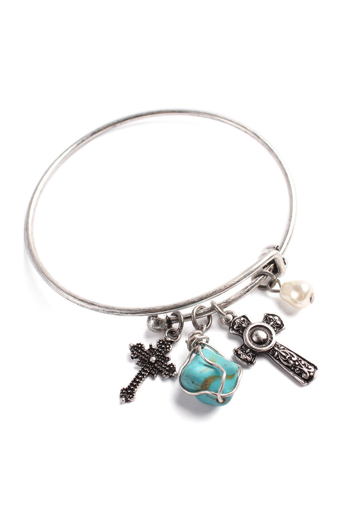 Burnished Cross Charm Bracelet