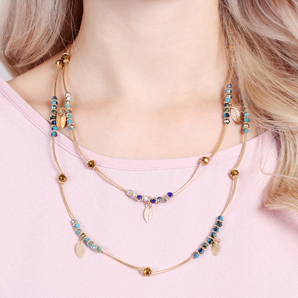 2 in 1 Leaf Multi Beaded Necklace - Riah Fashion