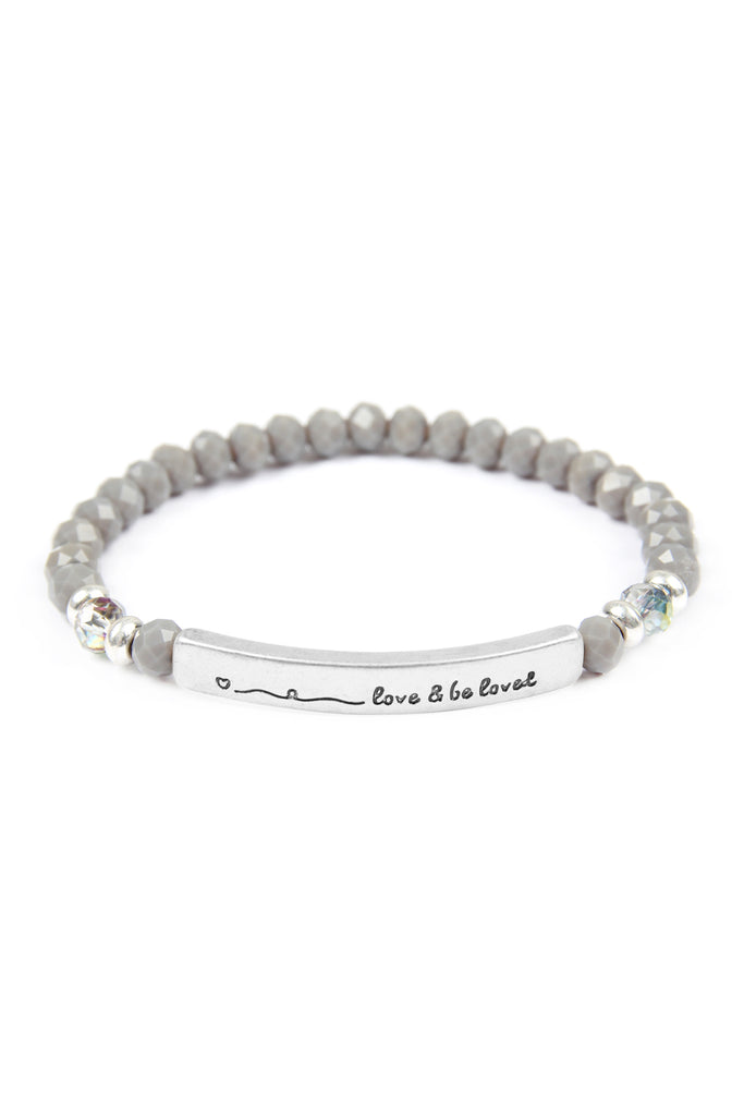 "83595 - ""LOVE AND BE LOVED"" 6MM GLASS BEADS STRETCH BRACELET"