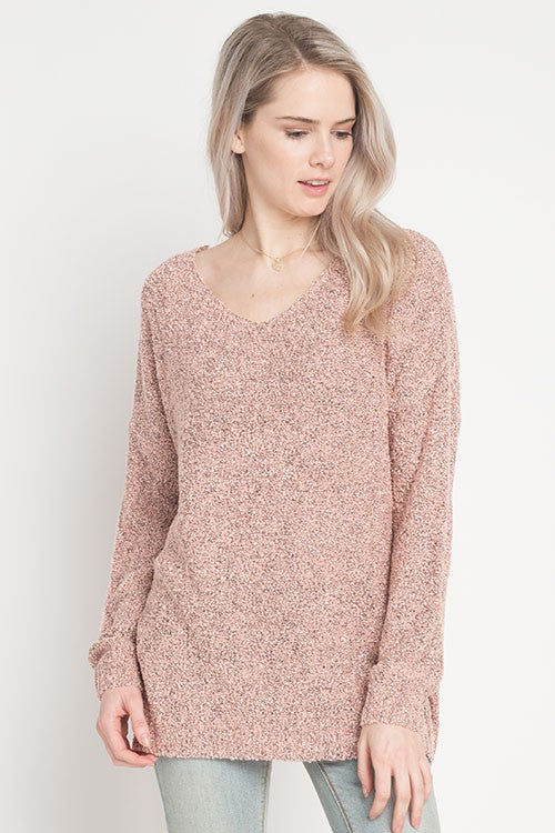 Boucle Knit V-Neck Pullover Sweater