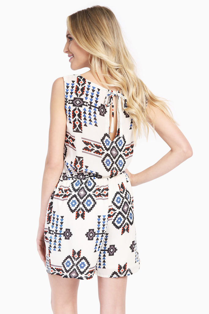 Tribal Print Keyhole Cutout Sleeveless Romper
