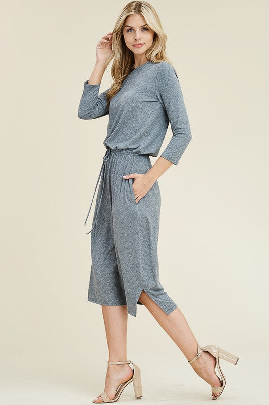 3/4 Sleeve Crew Flared Midi Dress