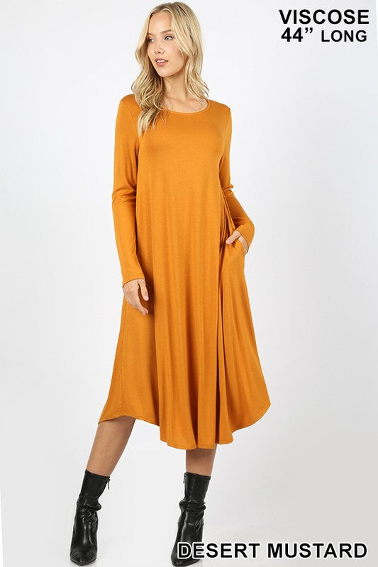 Viscose Long Sleeve Pocket Dress