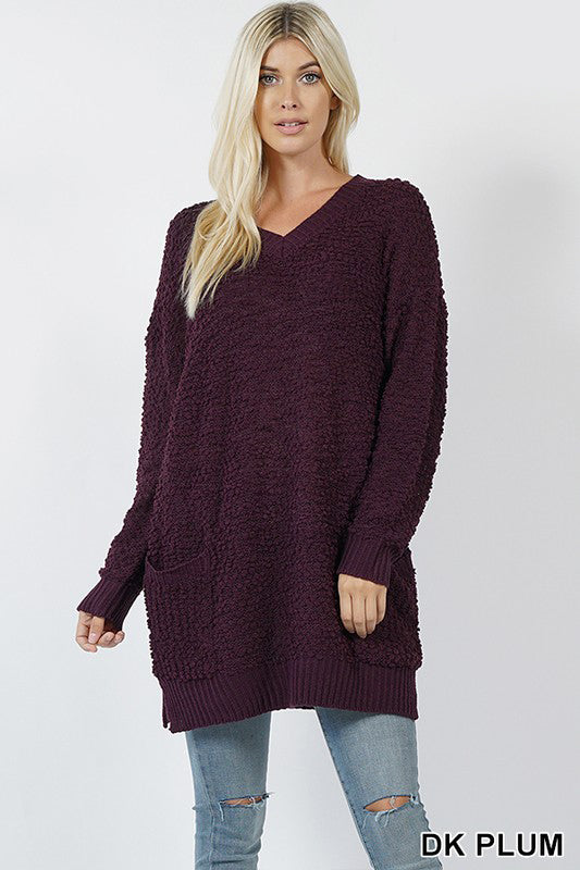 Popcorn Sweater V-Neck Tunic
