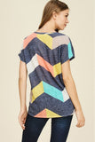 Casual Chevron Print Light Weight Knit Top