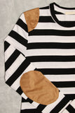 Suede Detail Striped Top