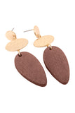 Wood Teardrop Shape Dangle Earrings