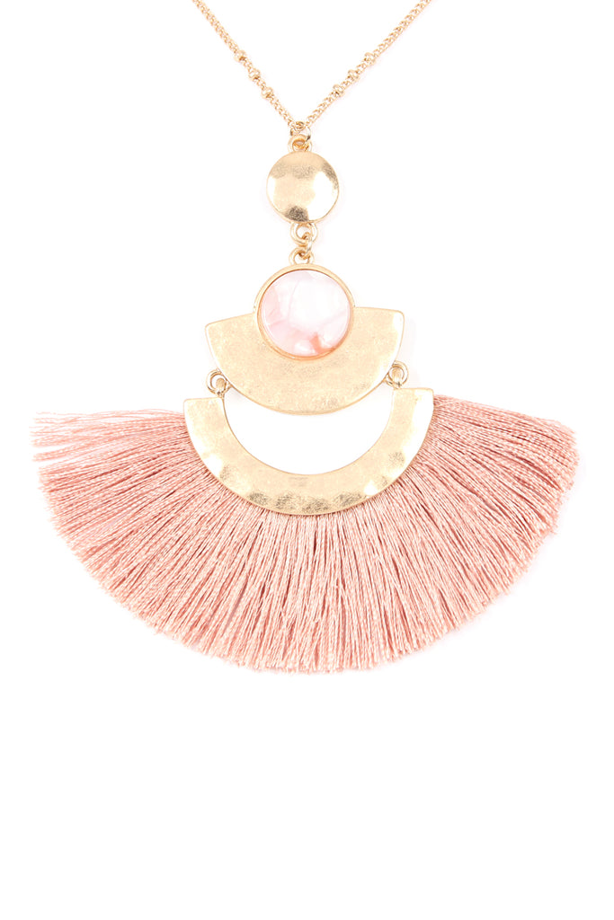 Acetate Tassel Pendant Necklace