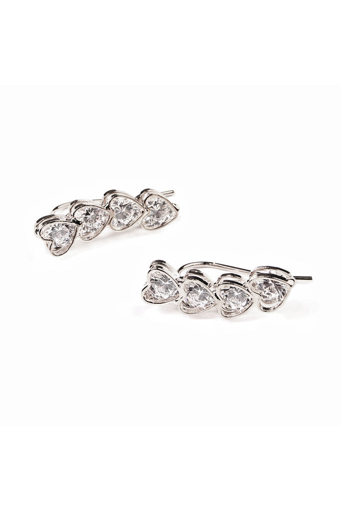 Heart Ear Crawler Earrings