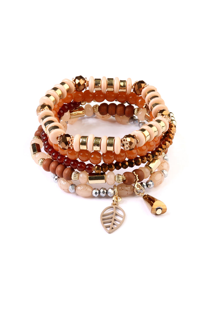 Leaf Charm Multibeads Stretch Bracelet