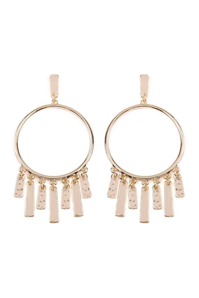 METAL BAR WITH HOOP POST EARRINGS