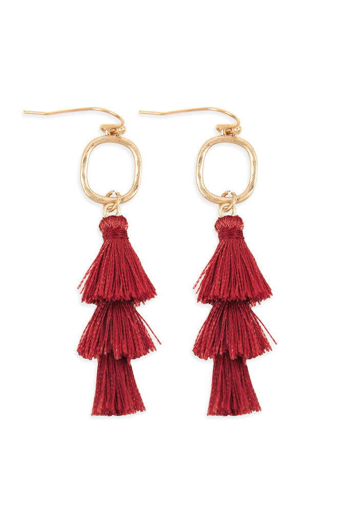 B2E2779 - THREE DROP TASSEL WITH METAL HOOK EARRINGS