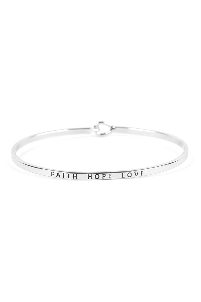 "B4128 - ""FAITH HOPE LOVE"" HINGE CUFF BRACELET"