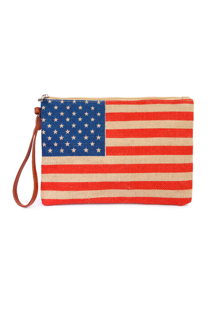 American Flag Print Clutch Bag