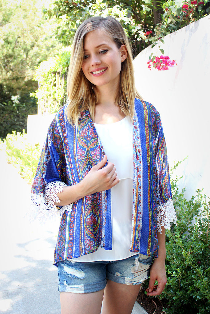 Blue High Low Print Kimono Cardigan