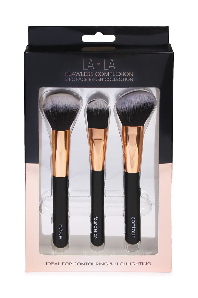 LA LA Flawless Complexion 3 PC Face Brush Collection